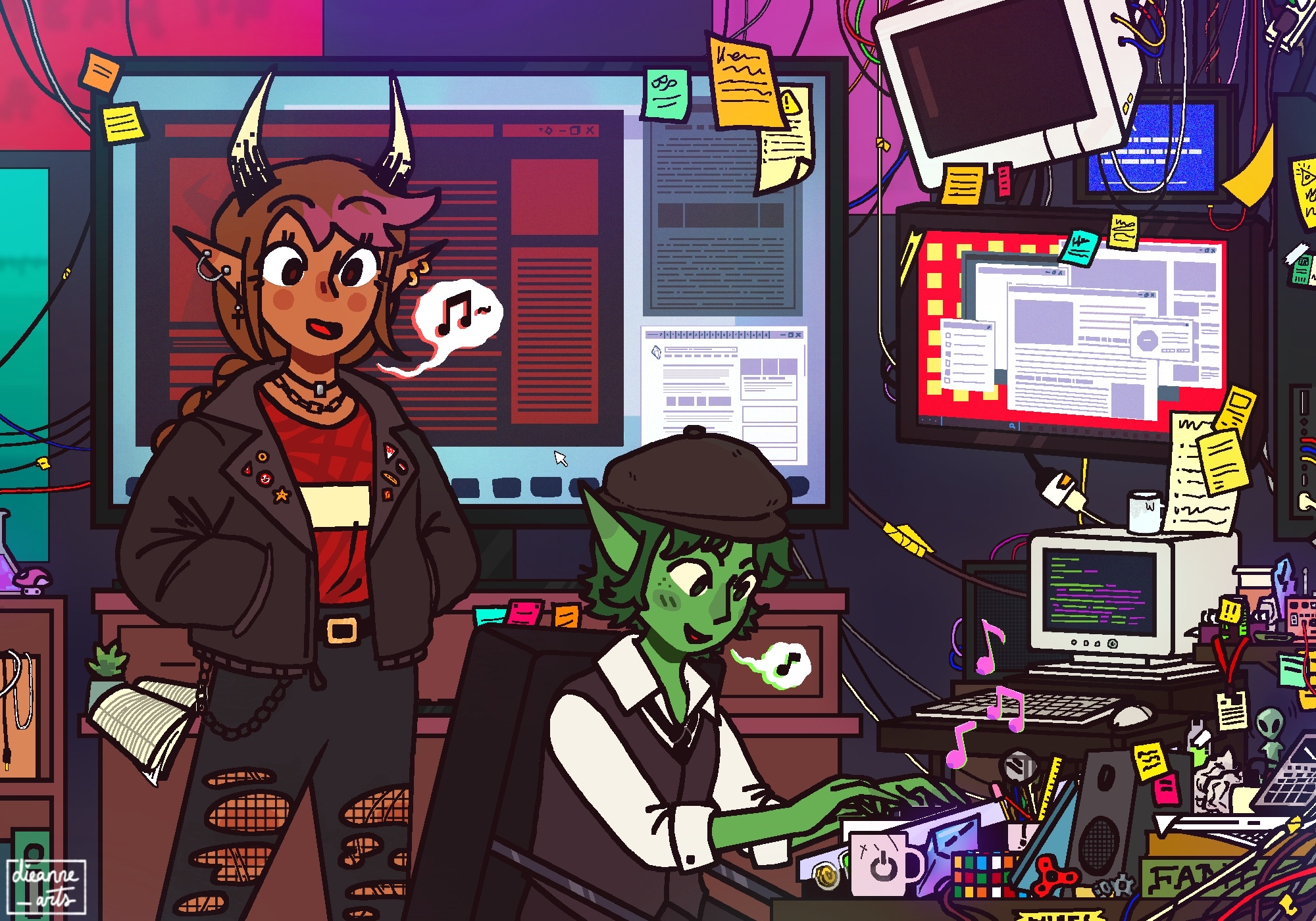 A drawing of Fig and Riz in the computer lab at school. The desk Riz sits at is cluttered with wires, paper, and fidget toys. He's playing a midi keyboard. Fig is shown with her hands in her pockets, singing.