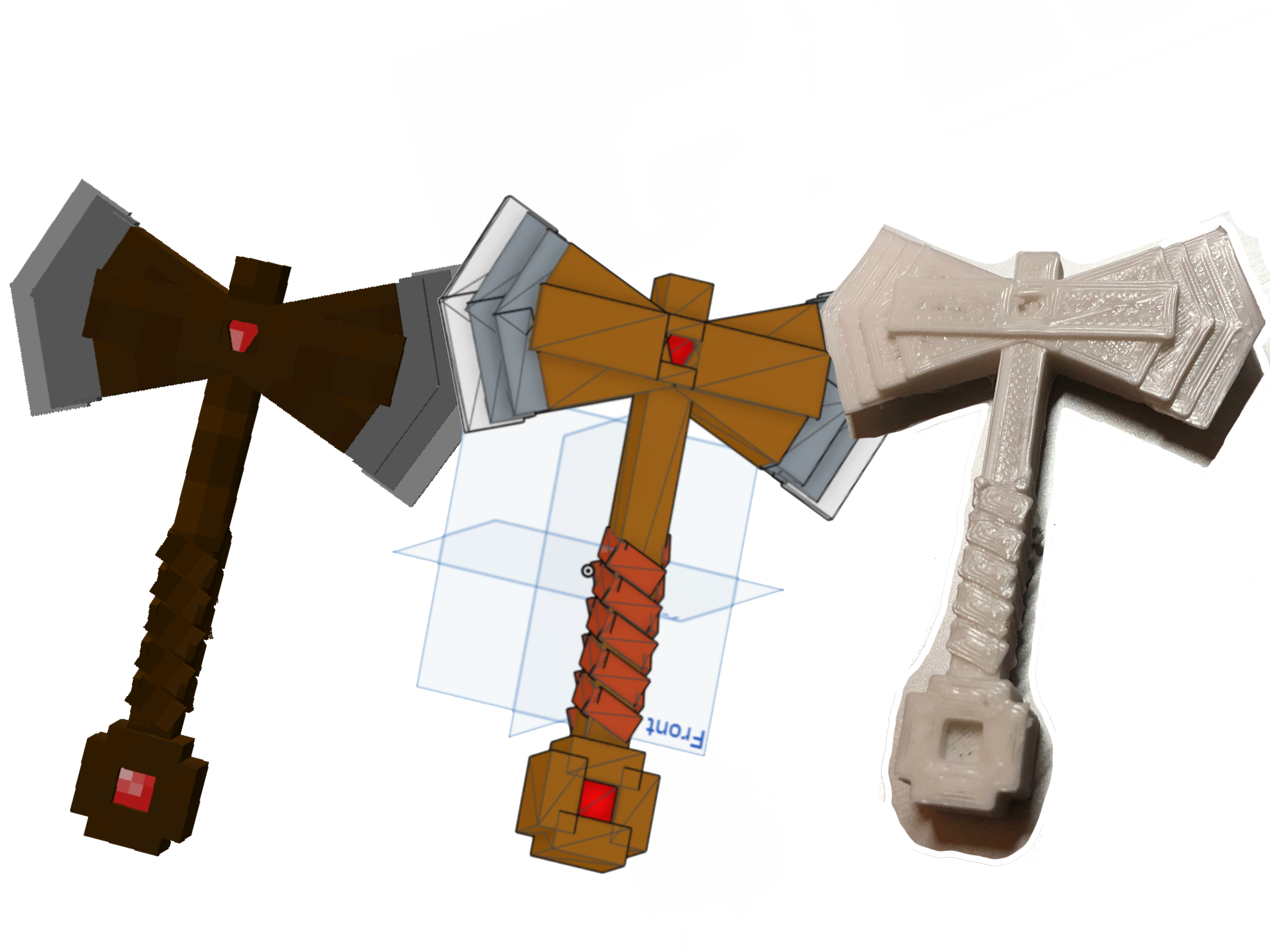 3D printed a few of my Minecraft models!