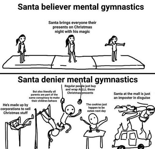 Santa Denier Mental Gymnastics