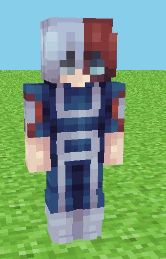 shoto todoroki (ripped shirt + gym uniform ver) - mha Minecraft Skin