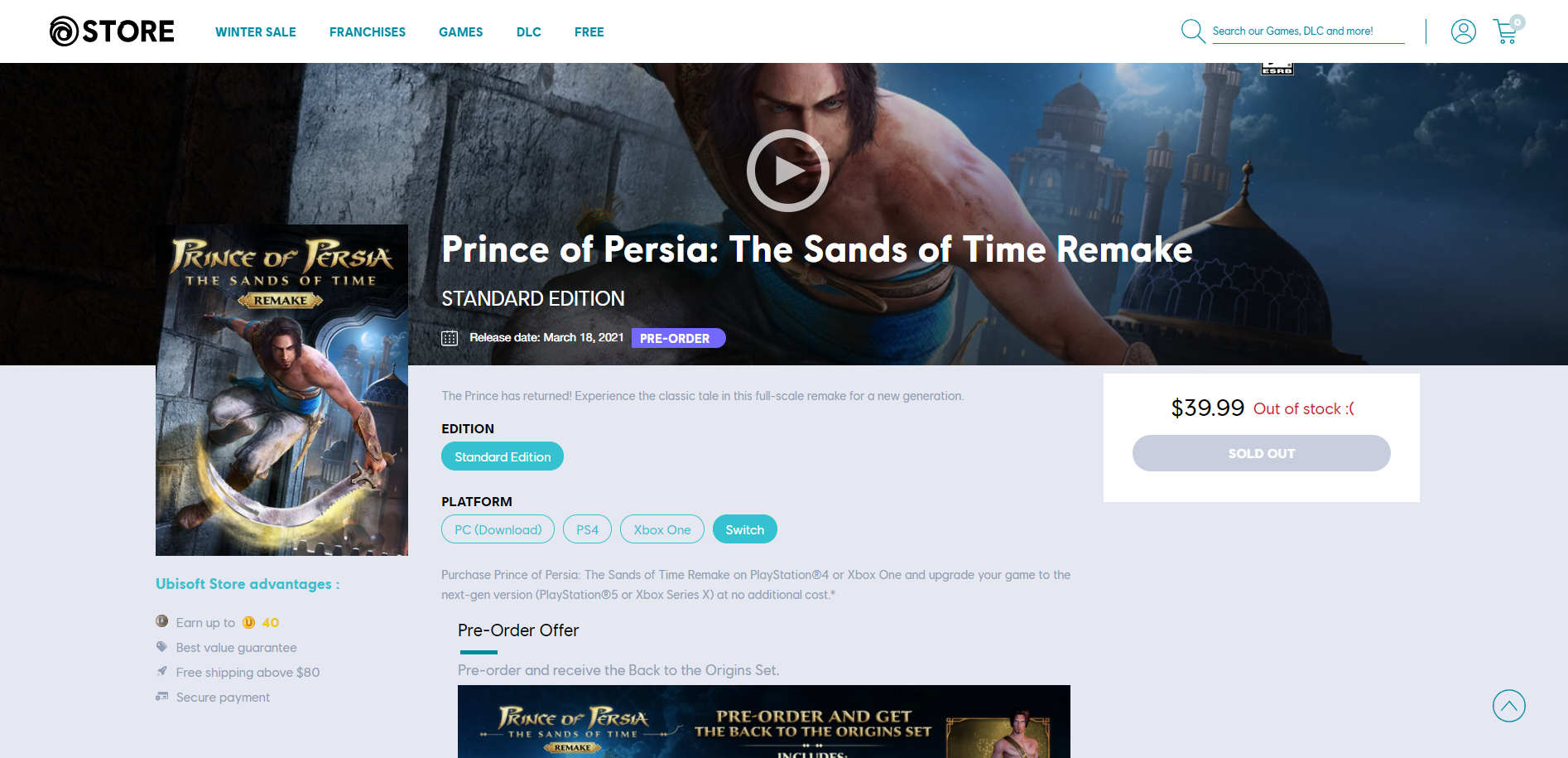Prince of Persia: The Sands of Time Remake Switch