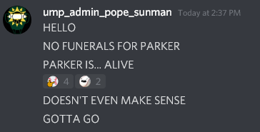 A screenshot showing Ump_Pope_Sunman saying,