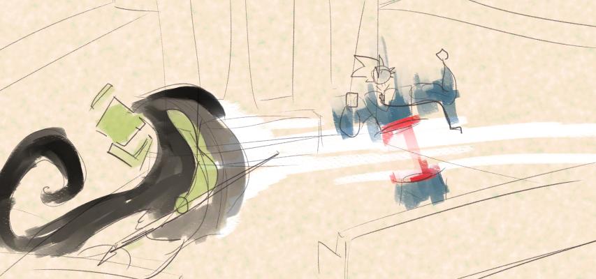Art showing Executioner Morgan cutting Goku in half.