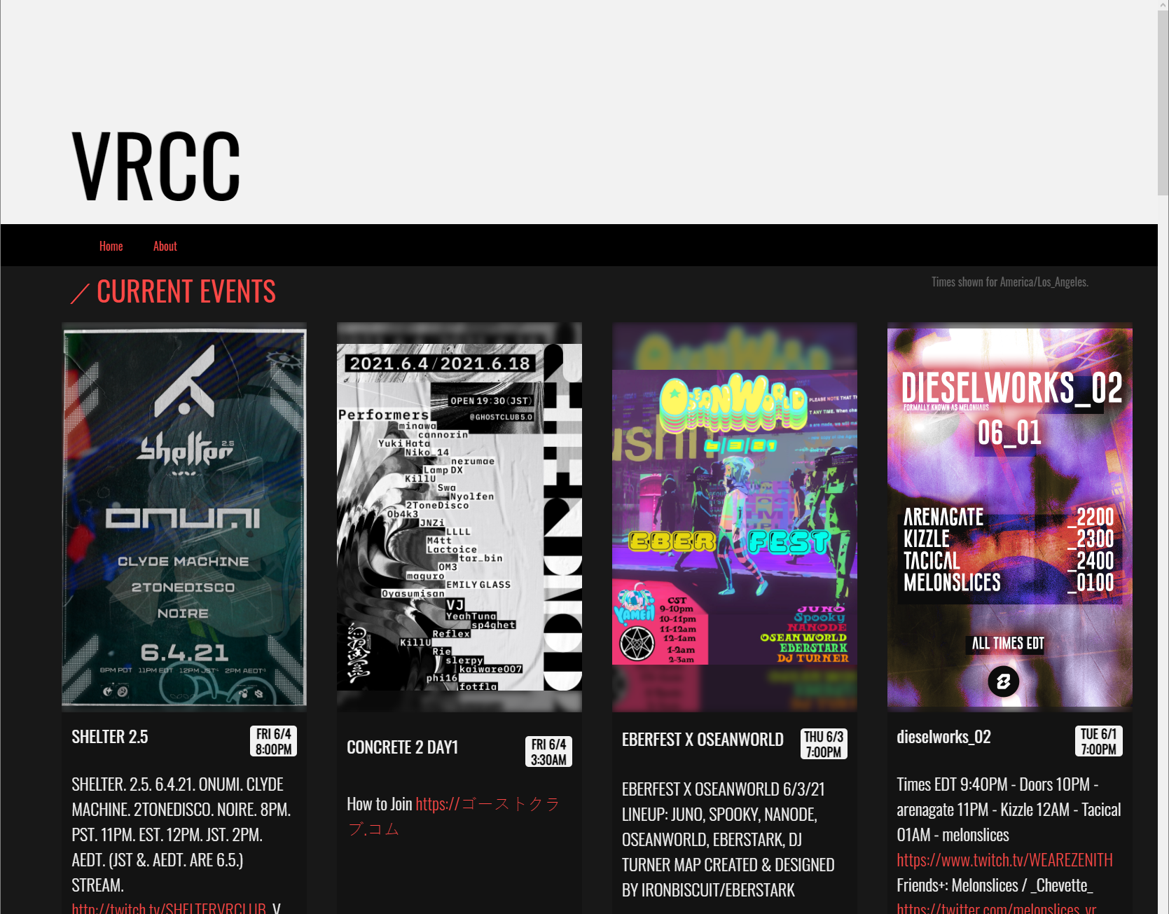 A handful of events gracing the VRCC homepage.