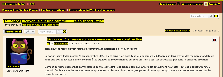 capture d'écran de la barre de navigation du forum avec les liens surlignés en jaune