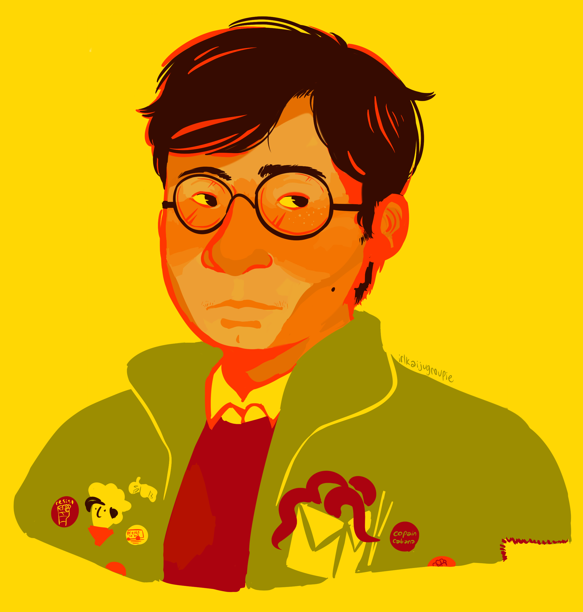 Artwork of me. I'm a round faced, light-skinned guy with short black hair and round black glasses. I'm wearing a collared shirt, red sweater, and big green coat with various pins and patches on it.