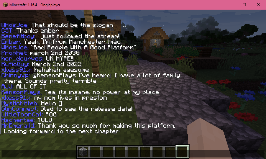 glimesh chat appearing in minecraft