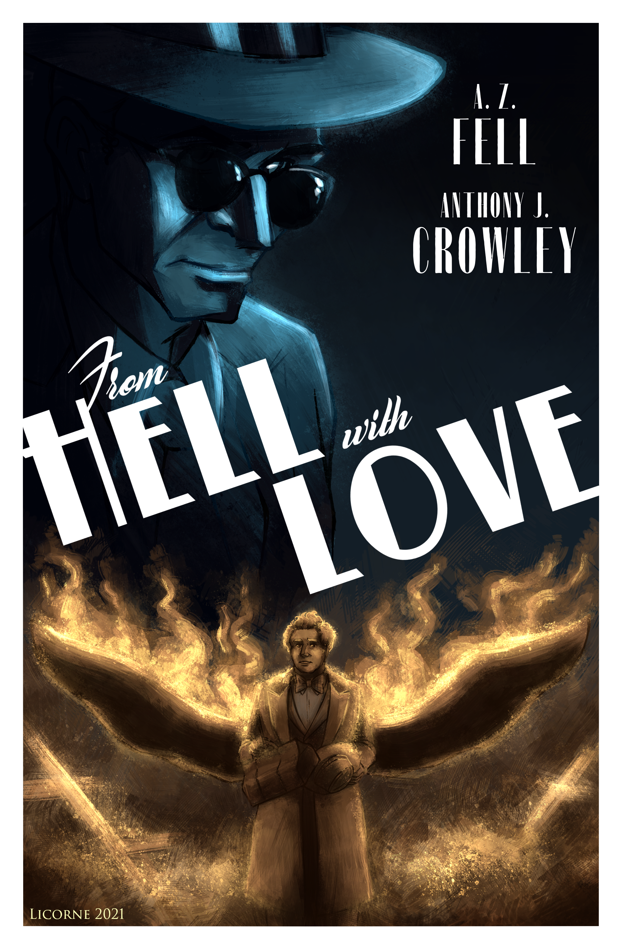 from Hell with Love movie poster featuring Aziraphale and Crowley