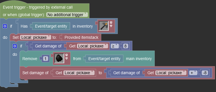 Picture of my procedure that works with local itemstack variable
