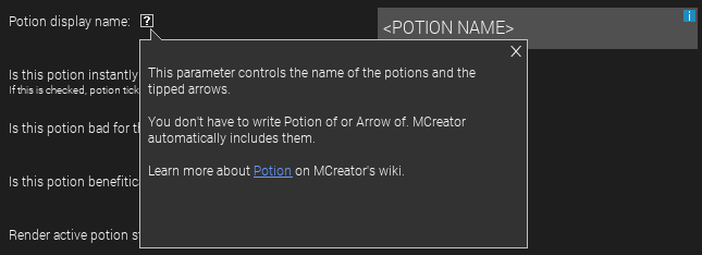 """You don't have to write Potion of or Arrow of. MCreator automatically includes them"""