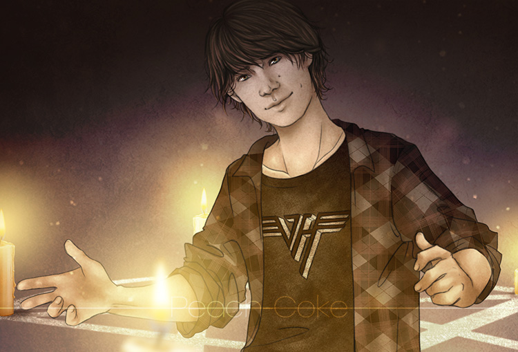 Artist's rendition of young Sam in a Van Halen shirt and plaid overshirt. With swirling lights around him by Peach-Coke
