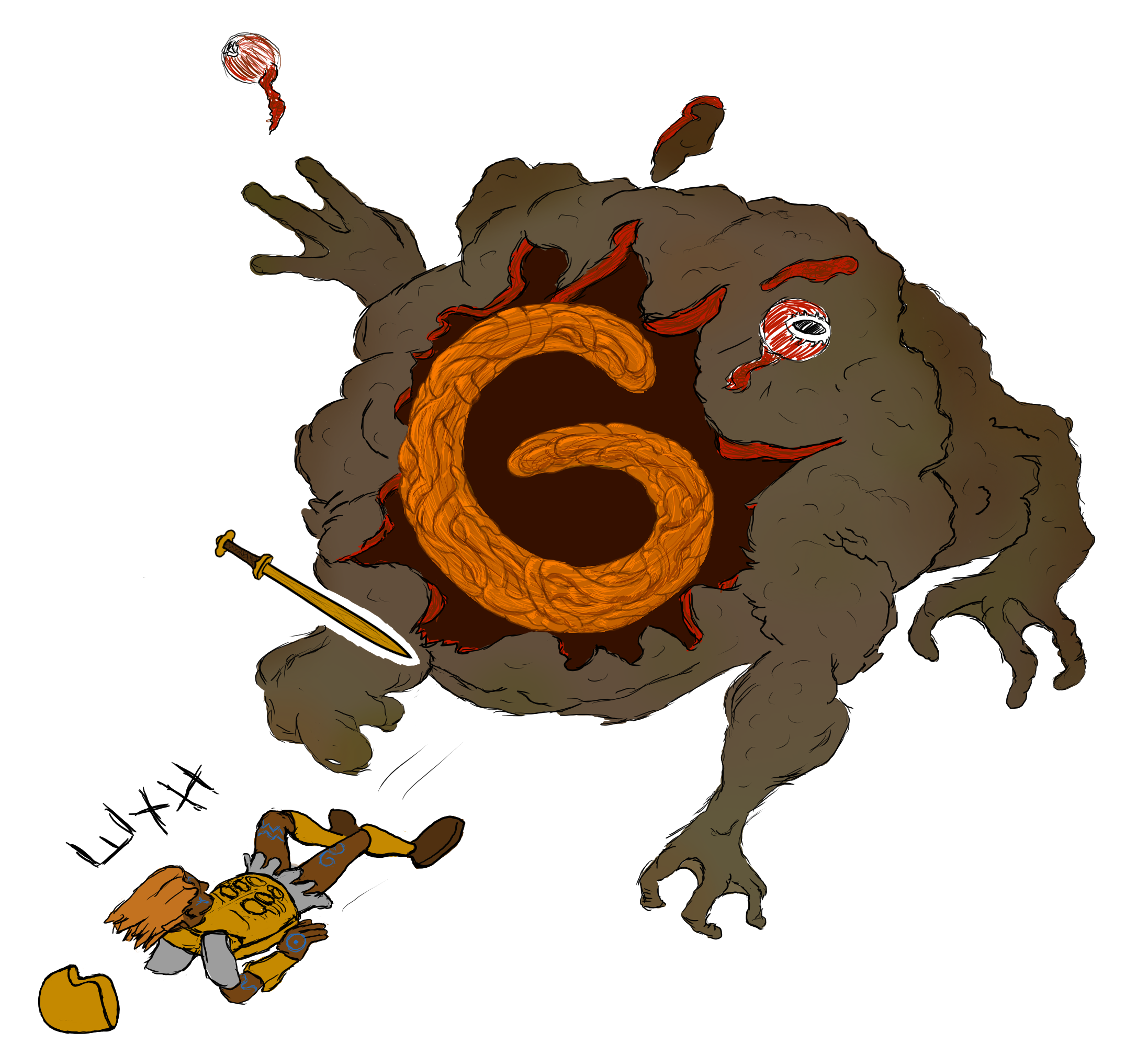 An exploding giant toad with an Air Rune textured to look like orange viscera.  A warrior has been blown over in front of the toad.