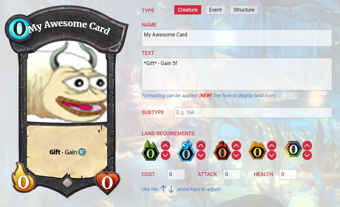 Custom card creator