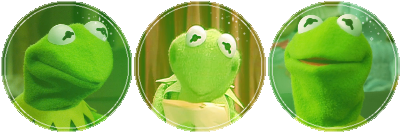 3 circular images of kermit the frog