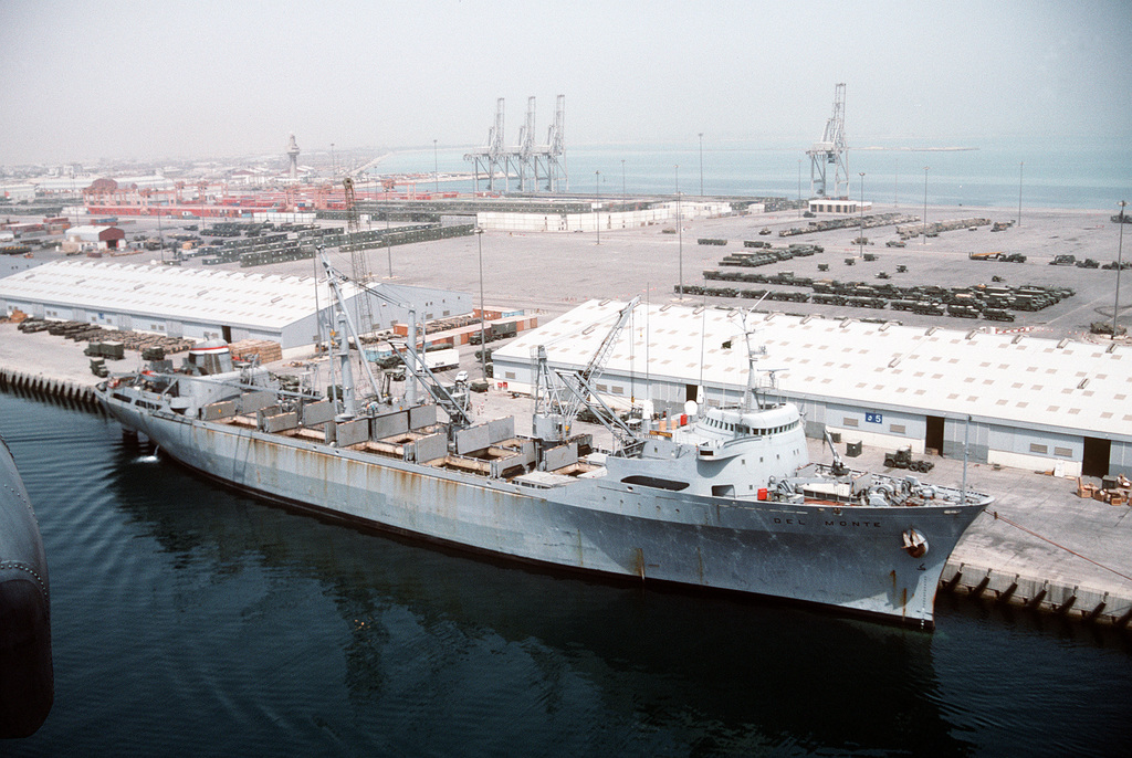 Del Monte in 1991, taking on supplies for operation Desert Storm.
