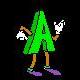 Dancing Letters - Green